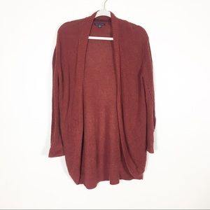 American Eagle Burgundy Red Open Cardigan Sweater